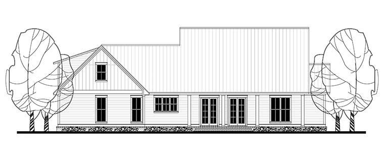 Country, Farmhouse, Southern, Traditional House Plan 56916 with 3 Beds, 3 Baths, 2 Car Garage Rear Elevation
