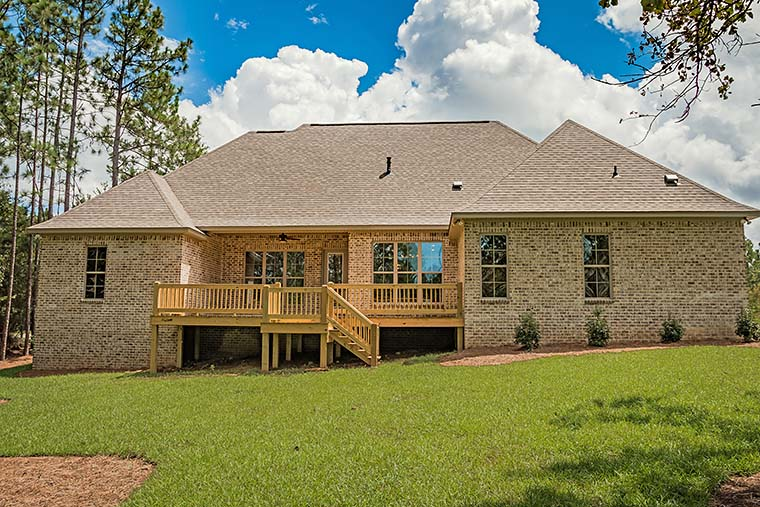 European, French Country, Southern, Traditional House Plan 56918 with 4 Beds, 3 Baths, 2 Car Garage Rear Elevation