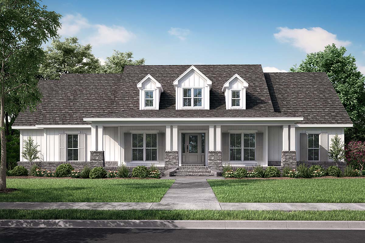 Country, Craftsman, Southern, Traditional House Plan 56919 with 4 Beds, 3 Baths, 3 Car Garage Elevation