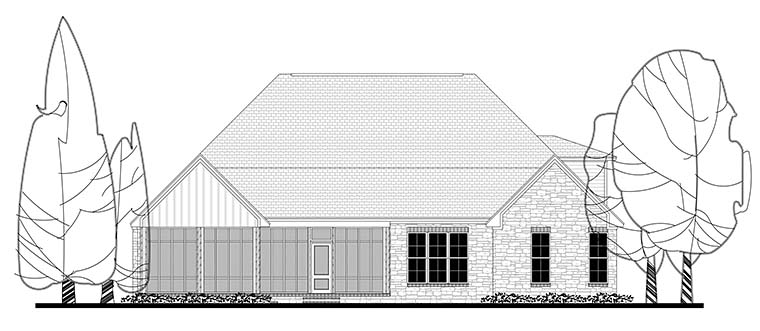 Country, Craftsman, Traditional House Plan 56922 with 3 Beds, 3 Baths, 2 Car Garage Rear Elevation