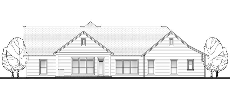 Country, Ranch, Traditional House Plan 56923 with 4 Beds, 3 Baths, 2 Car Garage Rear Elevation