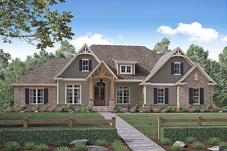 Country, Craftsman, Traditional House Plan 56924 with 4 Beds, 3 Baths, 2 Car Garage Front Elevation