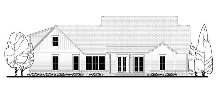 Country, Farmhouse, Southern House Plan 56925 with 4 Beds, 3 Baths, 2 Car Garage Rear Elevation