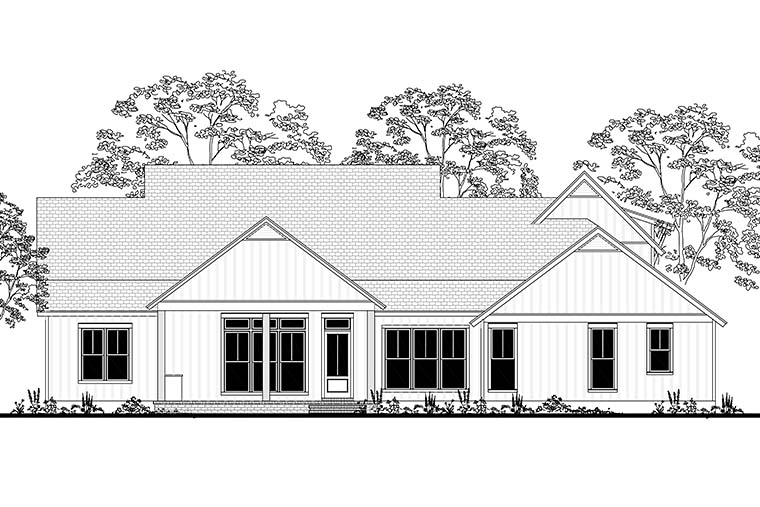 Cottage, Country, Farmhouse, Southern House Plan 56926 with 4 Beds, 4 Baths, 2 Car Garage Rear Elevation