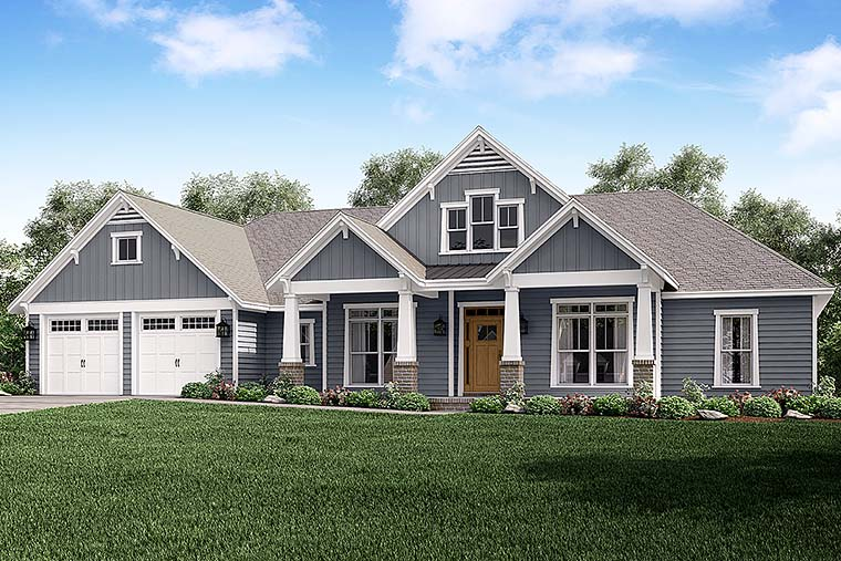 Country, Craftsman, Traditional House Plan 56927 with 4 Beds, 4 Baths, 2 Car Garage Elevation