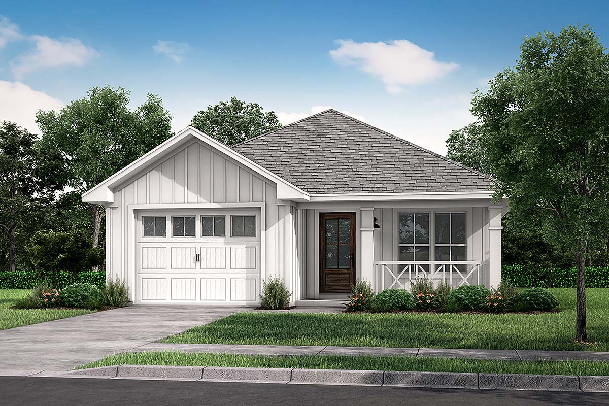 Country, Ranch, Traditional House Plan 56936 with 3 Beds, 2 Baths, 1 Car Garage Front Elevation