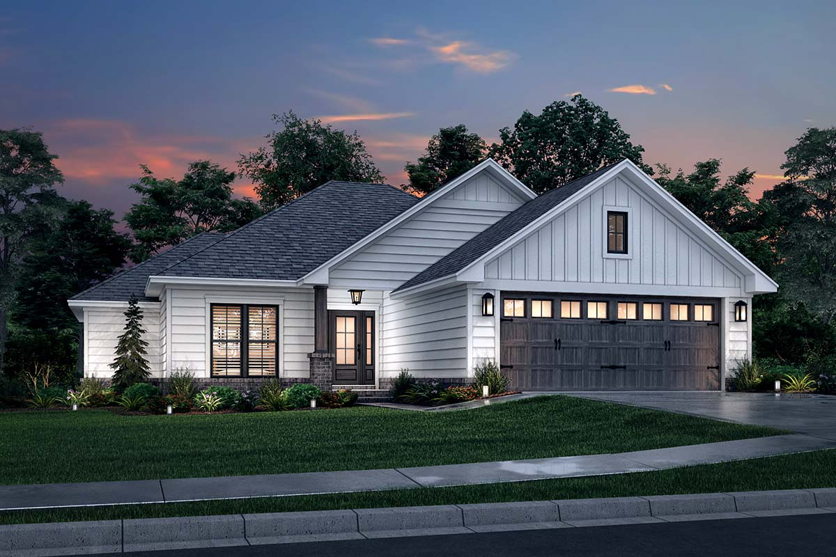 Ranch, Traditional House Plan 56941 with 3 Beds, 2 Baths, 2 Car Garage Picture 1