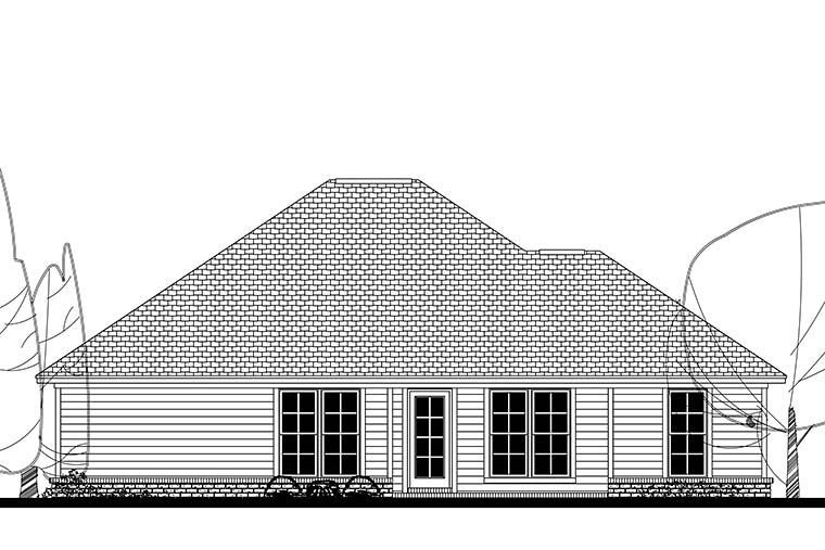 Ranch, Traditional House Plan 56941 with 3 Beds, 2 Baths, 2 Car Garage Rear Elevation