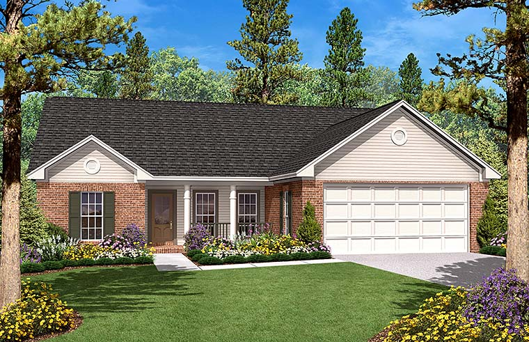 Country, Ranch, Traditional House Plan 56944 with 3 Beds, 2 Baths, 2 Car Garage Elevation