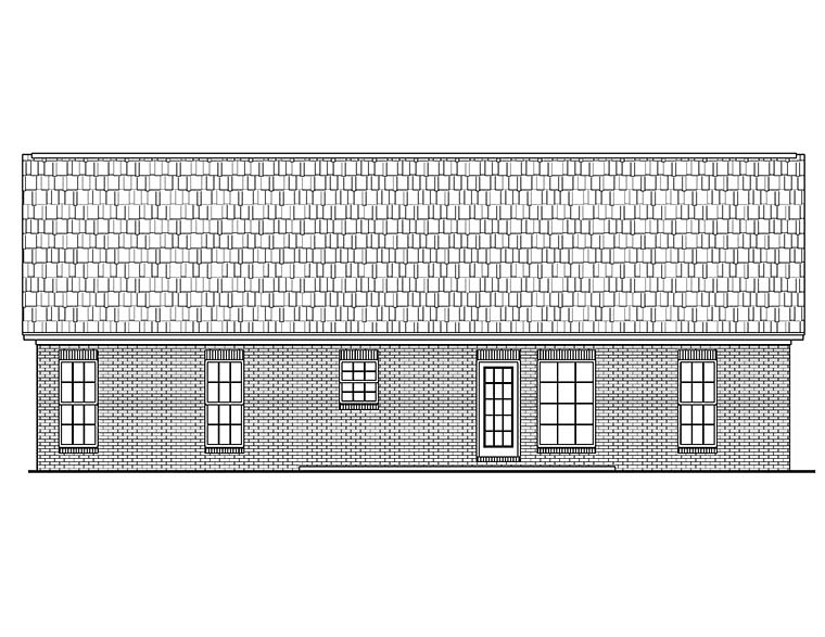 Country, Ranch, Traditional House Plan 56944 with 3 Beds, 2 Baths, 2 Car Garage Rear Elevation