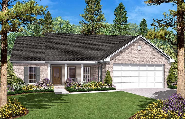 Country, Ranch, Traditional House Plan 56946 with 3 Beds, 2 Baths, 2 Car Garage Elevation