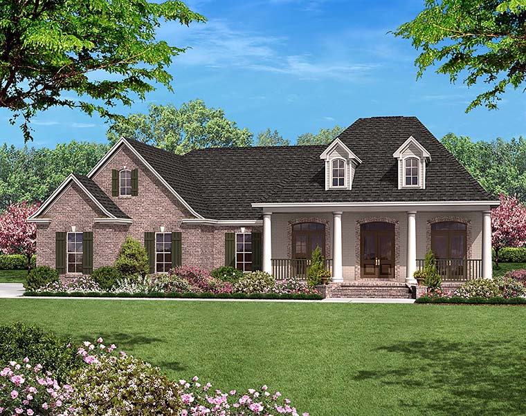 European, French Country House Plan 56952 with 3 Beds, 2 Baths, 2 Car Garage Elevation