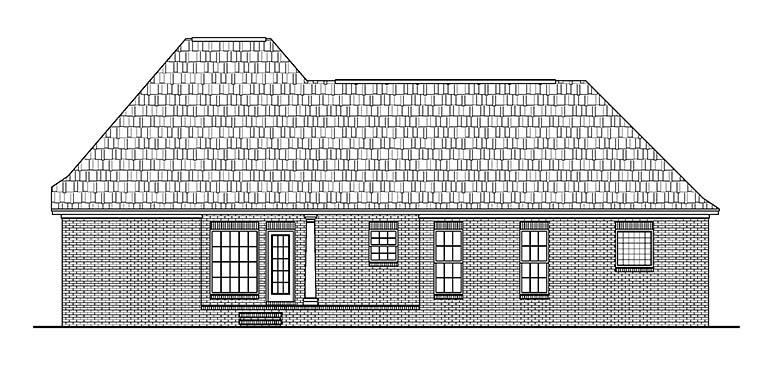 European, French Country House Plan 56952 with 3 Beds, 2 Baths, 2 Car Garage Rear Elevation