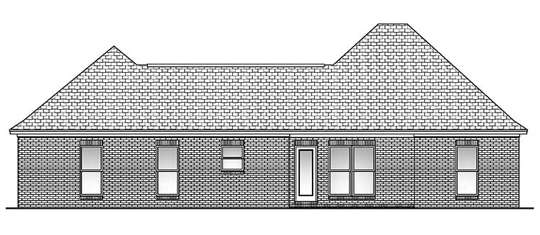 Country, European, French Country House Plan 56956 with 3 Beds, 2 Baths, 2 Car Garage Rear Elevation