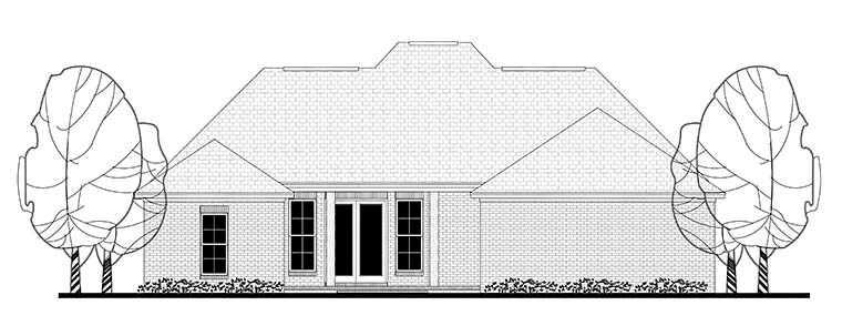 European, French Country, Traditional House Plan 56982 with 3 Beds, 2 Baths, 2 Car Garage Rear Elevation