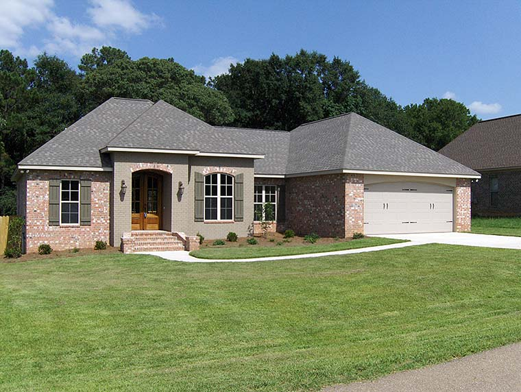 Country, French Country House Plan 56987 with 3 Beds, 2 Baths, 2 Car Garage Elevation