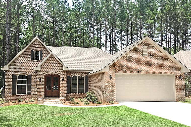 Country, French Country, Traditional House Plan 56998 with 3 Beds, 2 Baths, 2 Car Garage Front Elevation