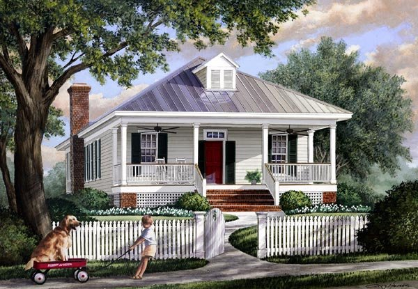 Colonial, Southern, Traditional House Plan 57065 with 3 Beds, 2 Baths Front Elevation