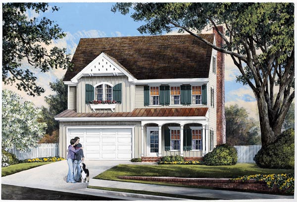 Farmhouse, Traditional House Plan 57066 with 3 Beds, 3 Baths Front Elevation
