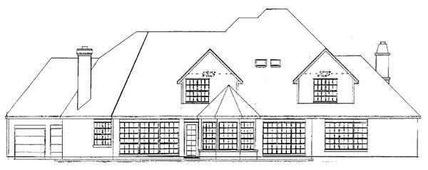 European House Plan 57131 with 4 Beds, 6 Baths, 3 Car Garage Rear Elevation