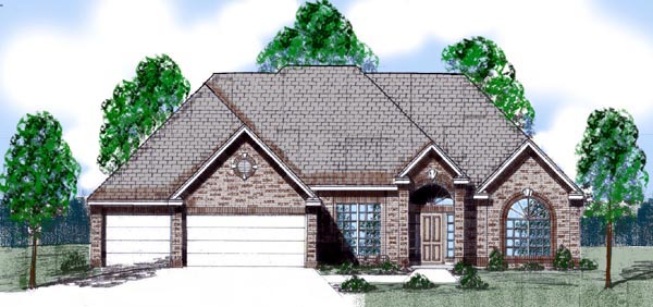 European House Plan 57205 with 4 Beds, 4 Baths, 3 Car Garage Front Elevation