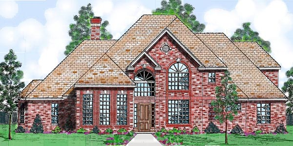 European House Plan 57206 with 4 Beds, 4 Baths, 3 Car Garage Front Elevation