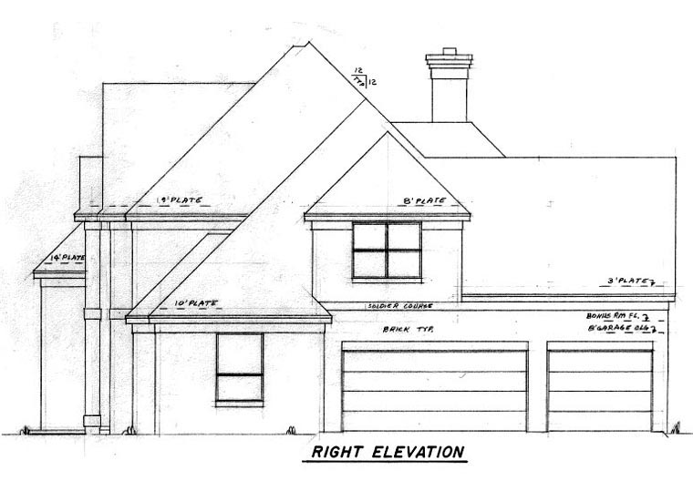 European House Plan 57206 with 4 Beds, 4 Baths, 3 Car Garage Picture 2