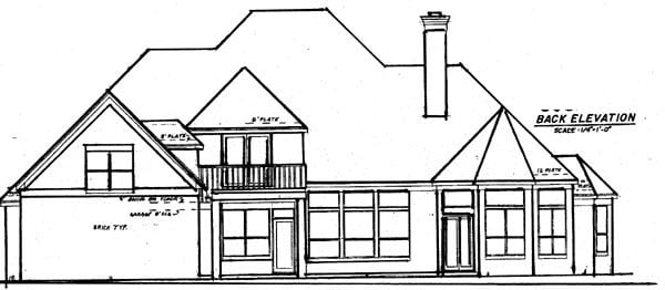 European House Plan 57206 with 4 Beds, 4 Baths, 3 Car Garage Rear Elevation