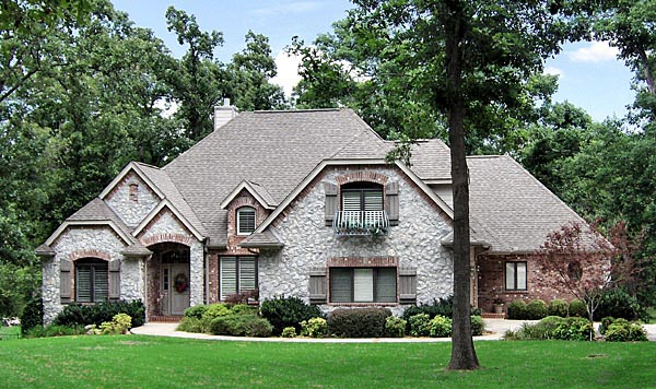 European House Plan 57207 with 3 Beds, 2 Baths, 2 Car Garage Front Elevation