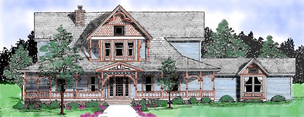 Victorian House Plan 57208 with 3 Beds, 3 Baths, 2 Car Garage Front Elevation