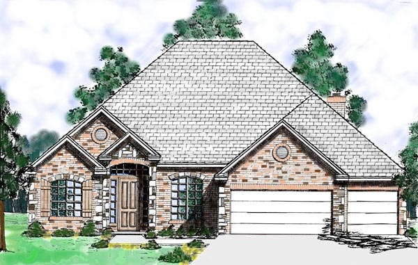 European House Plan 57210 with 3 Beds, 3 Baths, 3 Car Garage Front Elevation