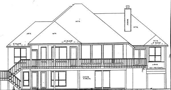 Mediterranean House Plan 57219 with 3 Beds, 4 Baths, 2 Car Garage Rear Elevation