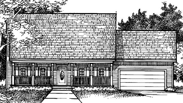 Country House Plan 57335 with 3 Beds, 2 Baths, 2 Car Garage Elevation