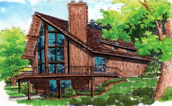 Cabin, Contemporary House Plan 57437 with 3 Beds, 2 Baths, 1 Car Garage Elevation