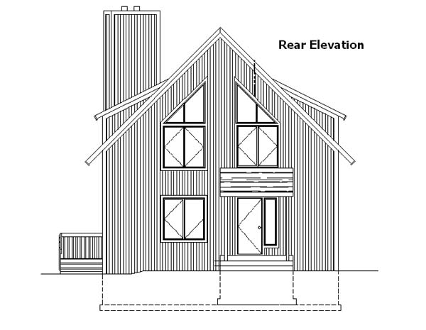 Cabin, Contemporary House Plan 57437 with 3 Beds, 2 Baths, 1 Car Garage Rear Elevation
