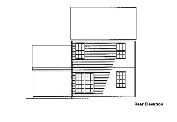 Cottage, Country House Plan 57486 with 3 Beds, 3 Baths, 1 Car Garage Rear Elevation
