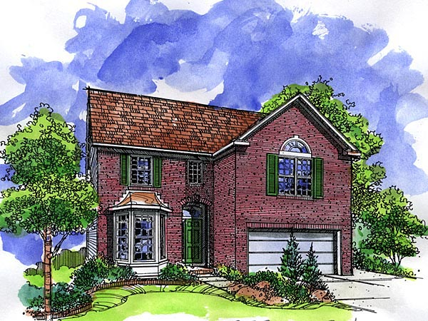 European, Narrow Lot House Plan 57507 with 3 Beds, 3 Baths, 2 Car Garage Front Elevation