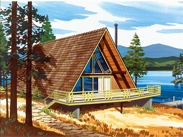 A-Frame, Contemporary, Narrow Lot, Retro House Plan 57544 with 2 Beds, 1 Baths Front Elevation