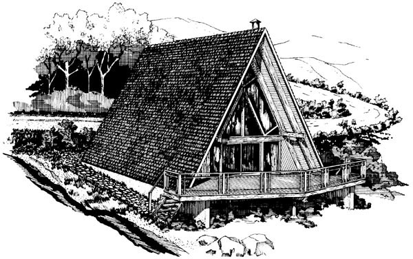 A-Frame, Narrow Lot House Plan 57545 with 3 Beds, 2 Baths Elevation