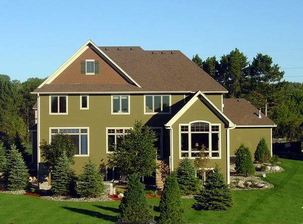 Cottage, European House Plan 57551 with 4 Beds, 4 Baths, 4 Car Garage Rear Elevation