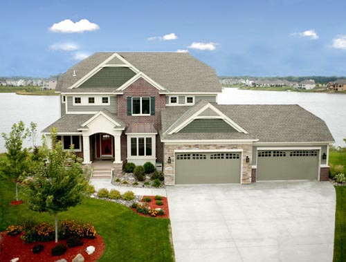 Cottage, Craftsman House Plan 57555 with 4 Beds, 3 Baths, 3 Car Garage Elevation