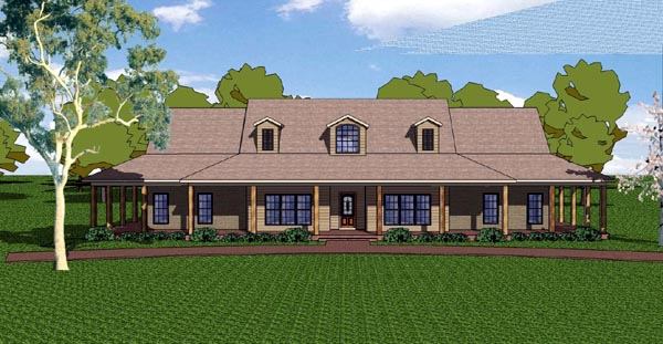 Country, Craftsman, Florida, Southern House Plan 57821 with 3 Beds, 3 Baths, 2 Car Garage Elevation
