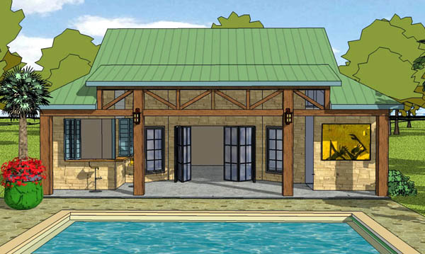 Coastal, Cottage, Craftsman House Plan 57863 with 1 Beds, 2 Baths Elevation