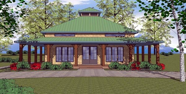 Cottage, Florida, Southern House Plan 57895 with 2 Beds, 2 Baths Elevation