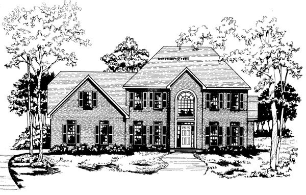 Traditional House Plan 58004 with 4 Beds, 3.5 Baths, 2 Car Garage Elevation