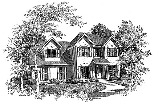 House Plan 58005 with 3 Beds, 2.5 Baths, 2 Car Garage Elevation
