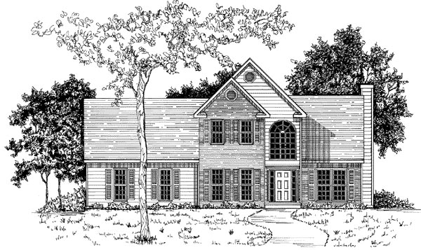 Traditional House Plan 58118 with 3 Beds, 2.5 Baths, 2 Car Garage Elevation
