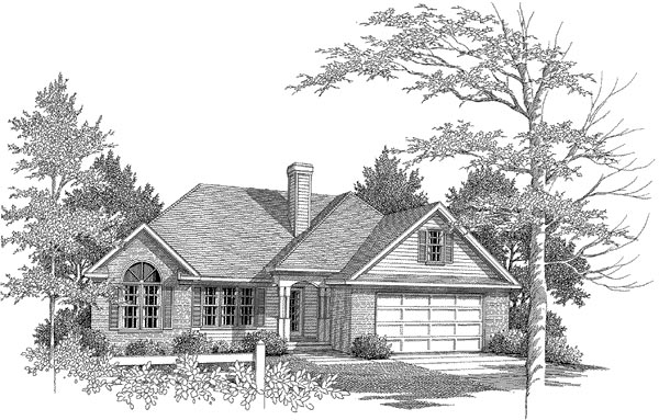 Traditional House Plan 58162 with 3 Beds, 2 Baths, 2 Car Garage Elevation