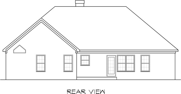 Traditional House Plan 58162 with 3 Beds, 2 Baths, 2 Car Garage Rear Elevation