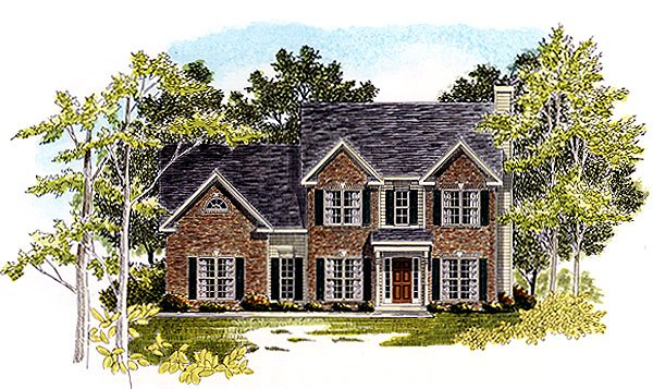 Traditional House Plan 58206 with 3 Beds, 3 Baths, 2 Car Garage Elevation